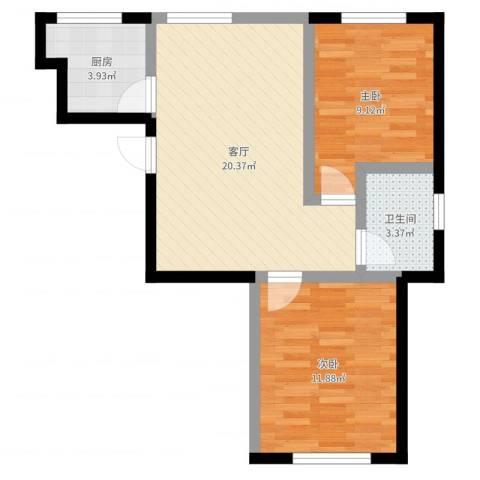 中冶蓝城2室1厅1卫1厨61.00㎡户型图