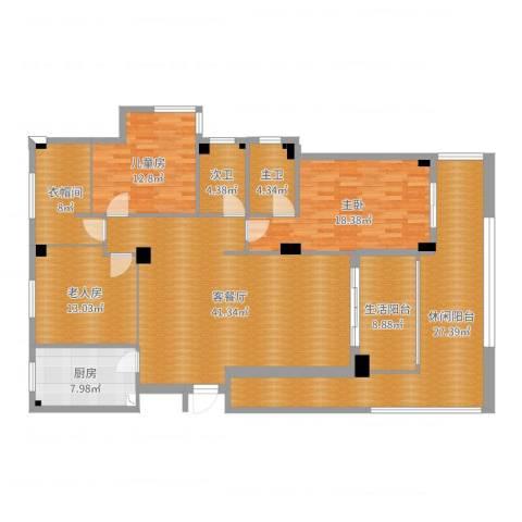 薇湖水岸3室2厅5卫1厨183.00㎡户型图