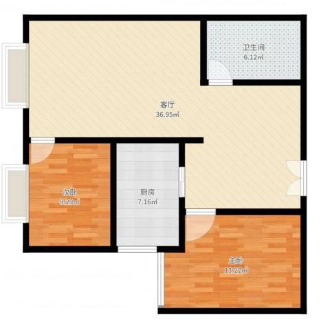 雪峰花园2室1厅1卫1厨91.00㎡户型图