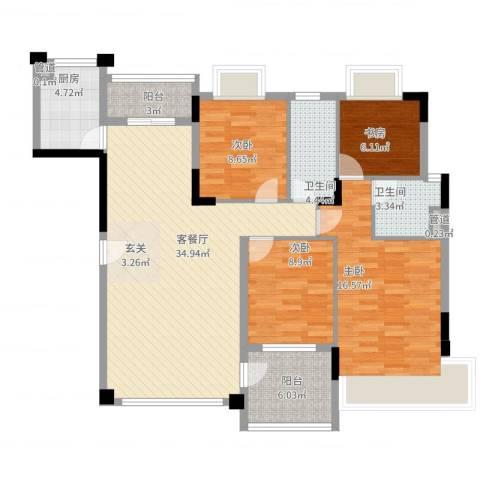 恒大绿洲4室2厅2卫1厨138.00㎡户型图