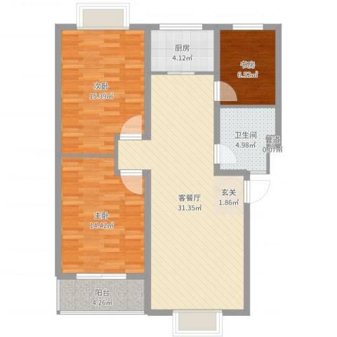 四季春城3室2厅1卫1厨101.00㎡户型图