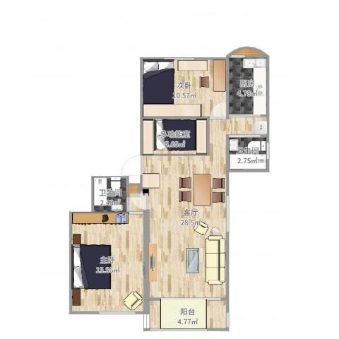 锦绣苑2室1厅2卫1厨94.00㎡户型图