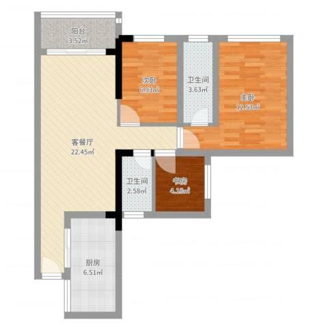 唯美嘉园3室2厅2卫1厨78.00㎡户型图