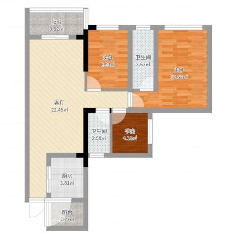 唯美嘉园3室1厅2卫1厨77.00㎡户型图