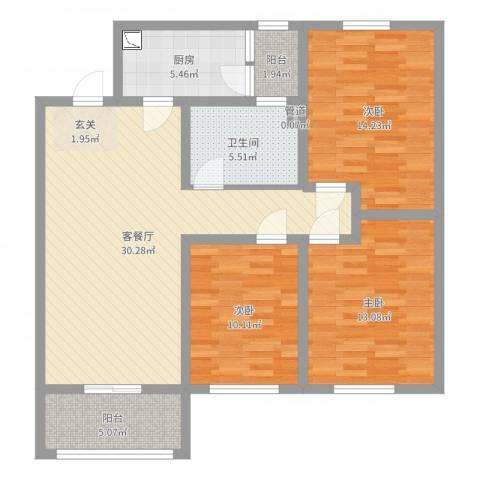 皇山花园三期F1户型3室2厅1卫1厨107.00㎡户型图
