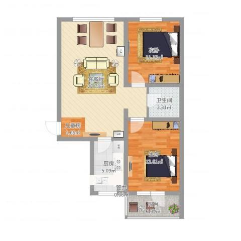 御�华府2室2厅1卫1厨80.00㎡户型图