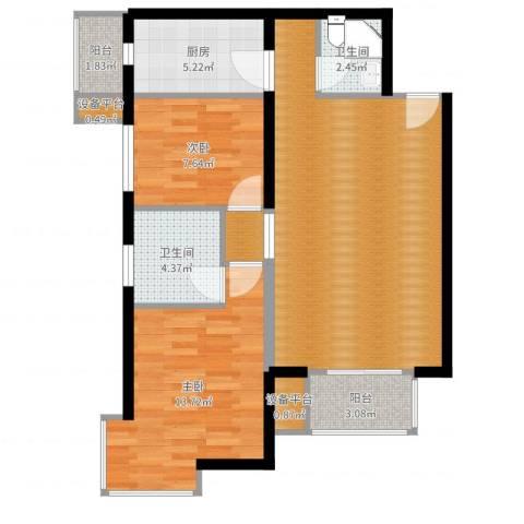 上上城青年社区二期2室1厅5卫1厨84.00㎡户型图
