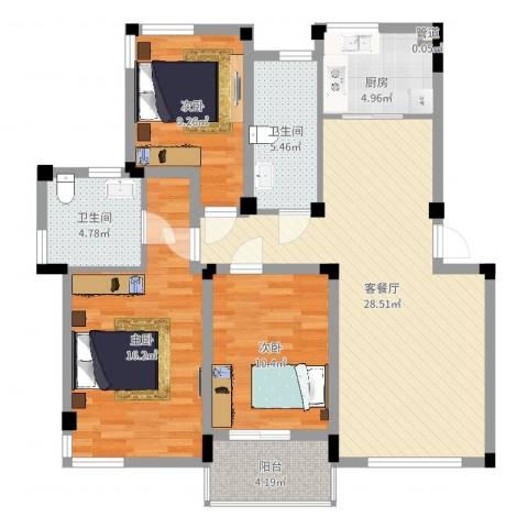 元一时代花园3室2厅2卫1厨105.00㎡户型图