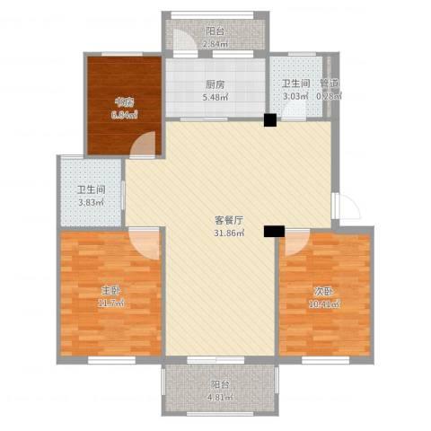 阳光美地3室2厅2卫1厨101.00㎡户型图