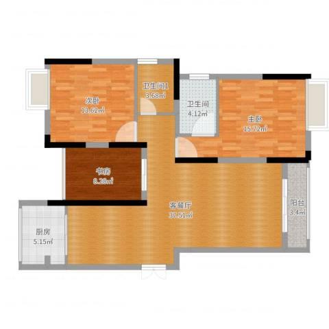 春华星运城3室2厅1卫1厨114.00㎡户型图