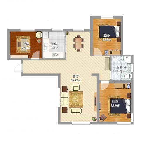 保利罗兰香谷二期3室1厅1卫1厨92.00㎡户型图