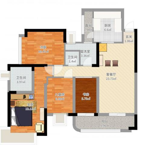 凯茵新城雅湖半岛4室4厅2卫1厨104.00㎡户型图