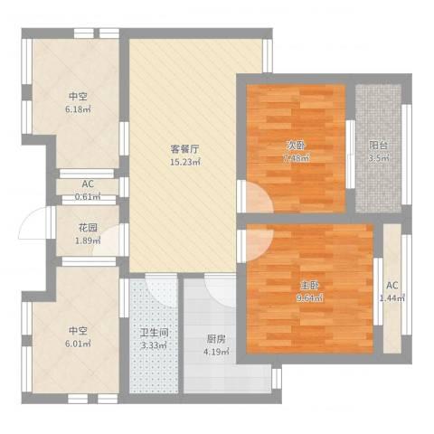 徐州市御园2室2厅1卫1厨74.00㎡户型图