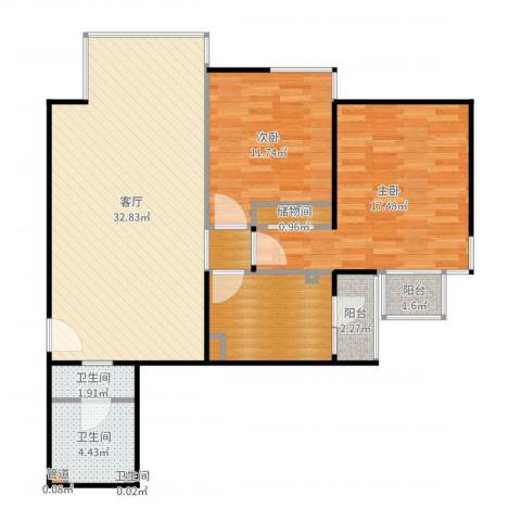 东润枫景2室1厅7卫1厨102.00㎡户型图