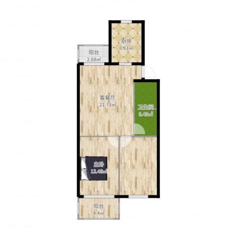 北苑家园紫绶园1室2厅1卫1厨83.00㎡户型图