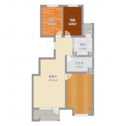 保利・香槟花园2室2厅1卫1厨103.00㎡户型图