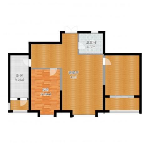 奥林国际公寓1室2厅1卫1厨118.00㎡户型图