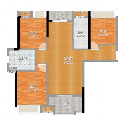 联投国际城3室2厅1卫1厨121.00㎡户型图