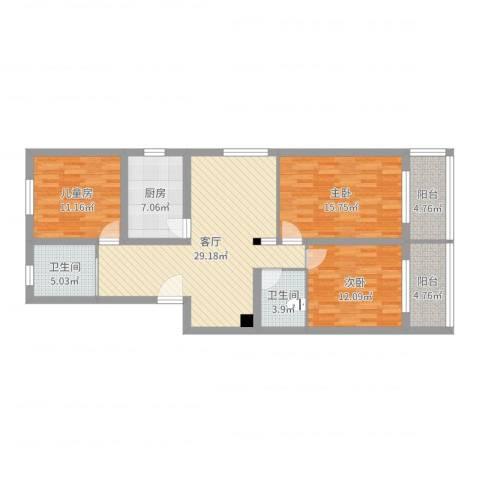 宝林六村3室1厅2卫1厨117.00㎡户型图