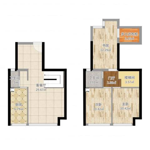 锦地繁花3室2厅2卫1厨105.00㎡户型图