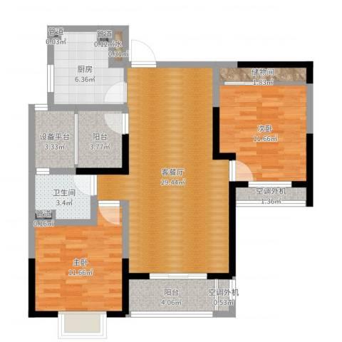 齐河德百玫瑰园2室2厅1卫1厨98.00㎡户型图
