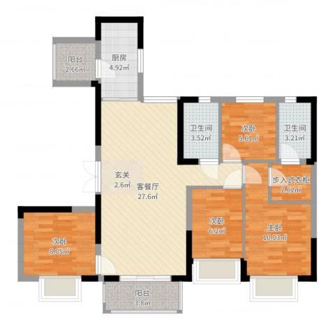 恒大御景半岛4室2厅2卫1厨98.00㎡户型图