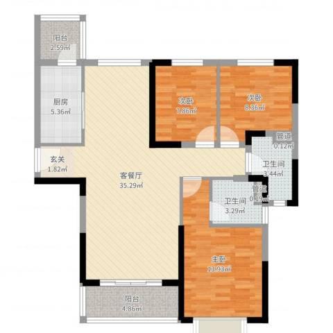 恒大御景半岛3室2厅2卫1厨107.00㎡户型图