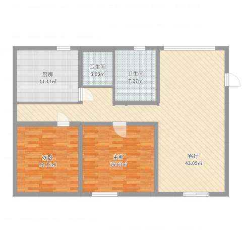 兴旺小区2室1厅2卫1厨120.00㎡户型图