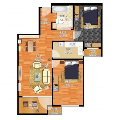 潮白河孔雀城・温莎郡2室1厅3卫1厨87.00㎡户型图
