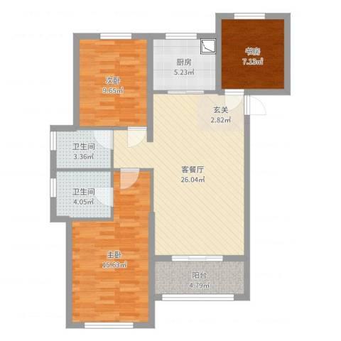 万科・金域传奇3室2厅2卫1厨95.00㎡户型图