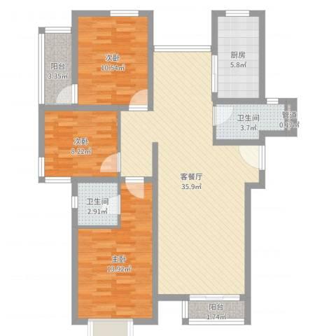 岭兜二里3室2厅2卫1厨108.00㎡户型图