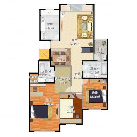 金象泰吉祥家园3室1厅2卫1厨125.00㎡户型图