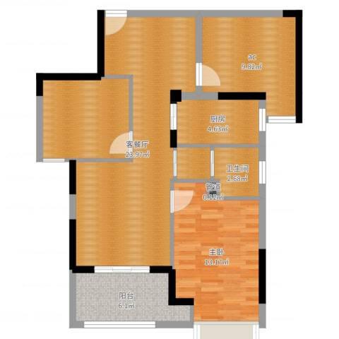 荣鼎幸福城1室2厅3卫1厨70.49㎡户型图