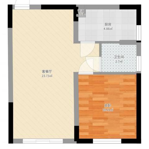 隆盛福隆花园1室2厅1卫1厨52.00㎡户型图