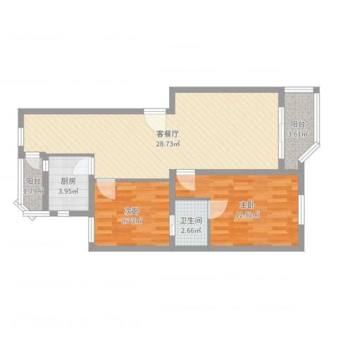 宝岛世纪园2室2厅1卫1厨78.00㎡户型图