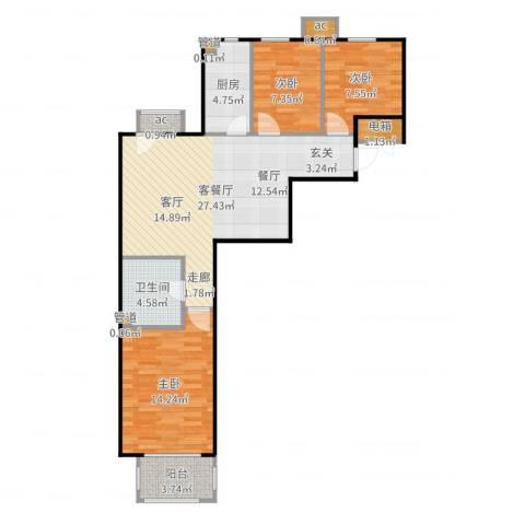 首创·悦树汇3室2厅1卫1厨91.00㎡户型图