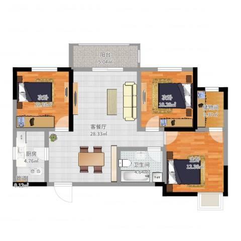 昆明时光3室2厅1卫1厨99.00㎡户型图