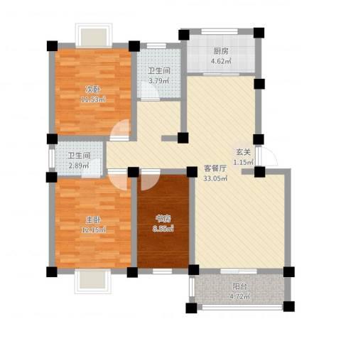 中建・城市花园3室2厅2卫1厨102.00㎡户型图