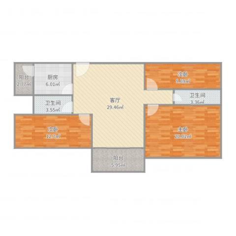 新威花园3室1厅2卫1厨113.00㎡户型图