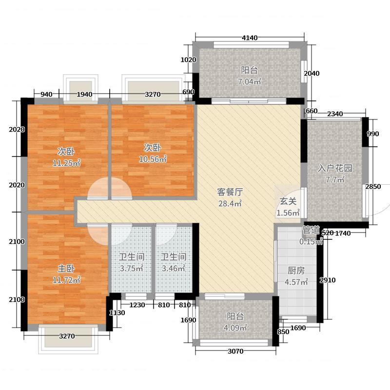美林假日116.09㎡4期2幢02户型3室3厅2卫1厨