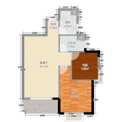 锦绣海湾城2室2厅1卫1厨75.00㎡户型图