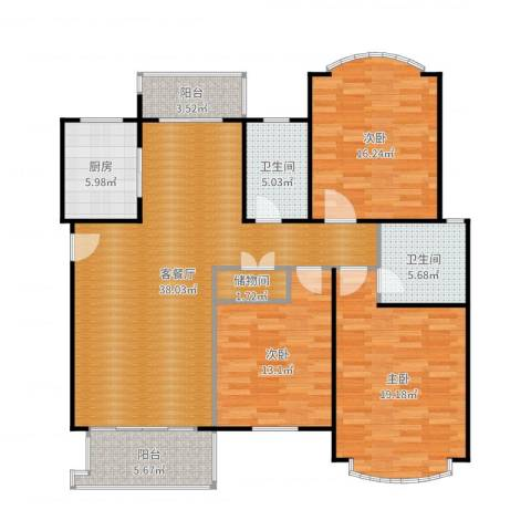 云润家园一期3室2厅2卫1厨143.00㎡户型图