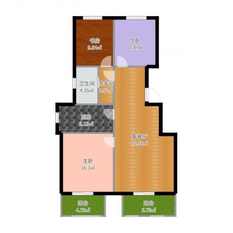 首开香溪郡3室2厅1卫1厨118.00㎡户型图