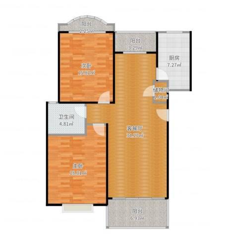 云润家园一期2室2厅1卫1厨117.00㎡户型图
