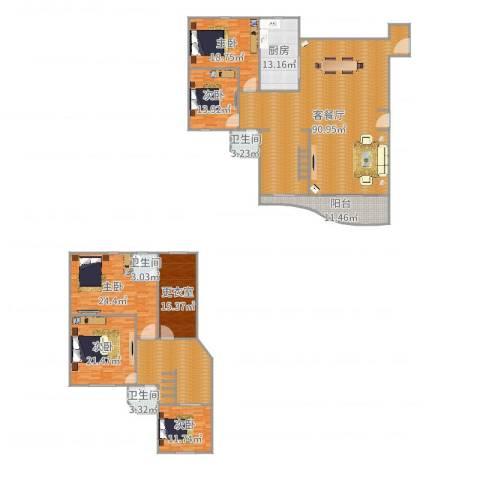 东方丽景176平01户型5室2厅3卫1厨314.00㎡户型图