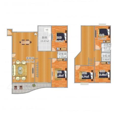 东方丽景181平02户型5室2厅3卫1厨302.00㎡户型图