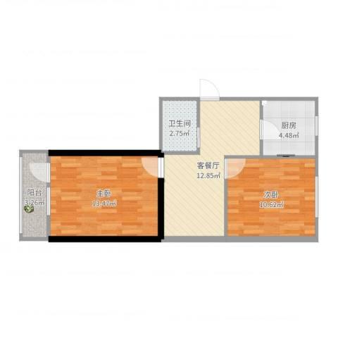 东木樨园小区2室2厅1卫1厨59.00㎡户型图