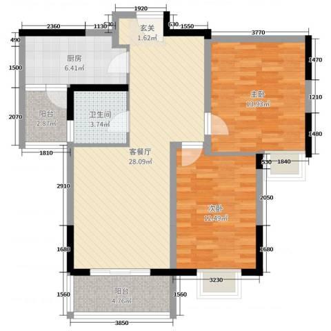 万邦・翰林郡2室2厅1卫1厨90.00㎡户型图
