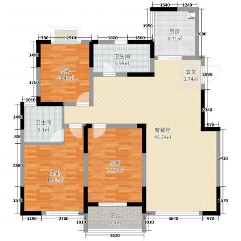 万邦・翰林郡3室2厅2卫1厨137.00㎡户型图