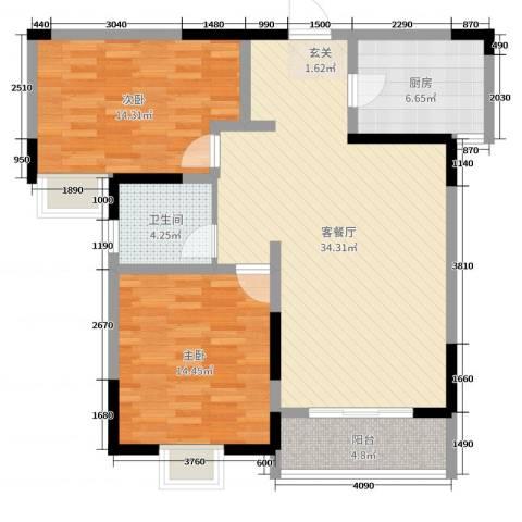万邦・翰林郡2室2厅1卫1厨99.00㎡户型图